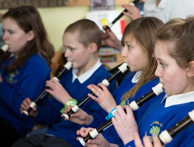 children playing recorders